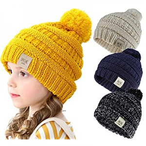 50.0% off Beanies Hats Baby Girls Boy with Pom Poms Warm Cable Knit Hat for Toddler Kids Crochet S..