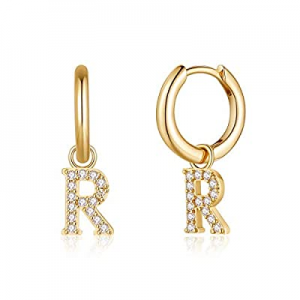 Initial Earrings for Girls Women now 60.0% off , S925 Sterling Silver Post Dangle Small Letter Hug..
