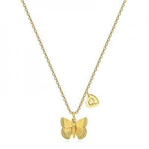 50.0% off MONOZO Initial Butterfly Necklace for Women - 14K Gold Filled Cute Initial Butterfly Nec..