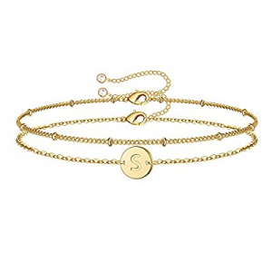 MONOZO Gold Initial Bracelets for Women now 50.0% off , Dainty 14K Gold Filled Layered Letter Init..
