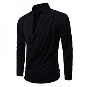Haseil Men's Cardigan Ruffle Shawl Collar Three Button Casual Comfortable Fit Sweater now 60.0% off