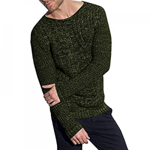 One Day Only!70.0% off PASLTER Mens Sweaters Crew Neck Long Sleeve Slim Fit Pullover Cable Knit Ca..