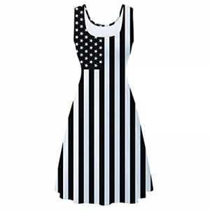 uideazone Women's Sleeveless Scoop Neck Summer Beach Casual Midi A Line Dress now 72.0% off