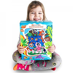 BabyBibi Babies Around The World Jumbo Soft Cloth Book - Fun Educational Story About a Baby Travel..