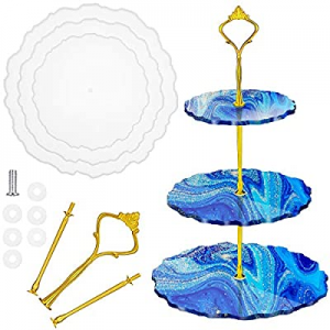3 Tier Cake Stand Resin Molds Silicone Tray Molds DIY Casting Molds with Stand Holder for Irregula..