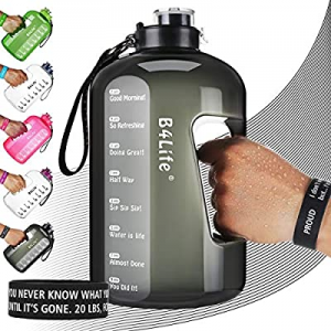 B4Life 1 Gallon Water Bottle with Time Marker now 30.0% off , Motivational Wristband, Fitness Work..