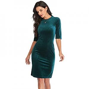 Atnlewhi Womens Short Sleeve Casual Velvet T-Shirt Dress Slim Fit Strechy Pencil Dresses now 8.0% ..