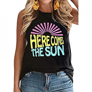 Here Comes The Sun Tank Tops Women Cute Sunshine Graphic Shirt Sleeveless Letter Print Tee T Shirt..