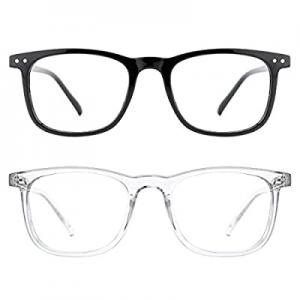 50.0% off TIJN Blue Light Glasses 2 Pack Square Lightweight Computer Blue Light Blocking Glasses f..