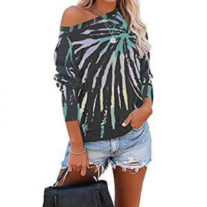 YAXIYA Women's Long Sleeve Tie Dye Off The Shoulder Tops Shirt Blouse Pullover now 15.0% off