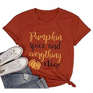 40.0% off LUKYCILD Women Pumpkin Shirt Cute Pumpkin Graphic Letter Print T-Shirt Short Sleeve Roun..