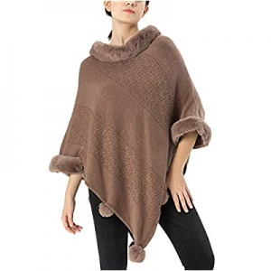 KMHZ Pullovers Sweater Elegant Cloak Sweater Crochet Poncho Shawl Cape now 55.0% off