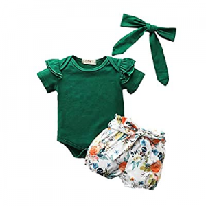 Baby Girl Clothes Kids Outfits Ruffle Romper Floral Pants Bowknot Baby Girls' Clothing Set now 51...