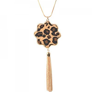 One Day Only!70.0% off TOPIA STAR Long Necklaces for Women Statement Leopard Snakeskin Fur Pattern..