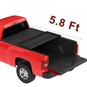 oEdRo Upgraded Soft Tri-fold Truck Bed Tonneau Cover On Top Compatible with 2007-2013 Chevy Silver..