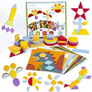 133 Pcs Wooden Pattern Blocks now 50.0% off , 2-in-1 Montessori Educational Tangram Puzzles for Ki..