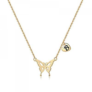 Iefil Initial Butterfly Necklace for Women now 60.0% off , 14k Gold Filled Letter Initial Butterfl..