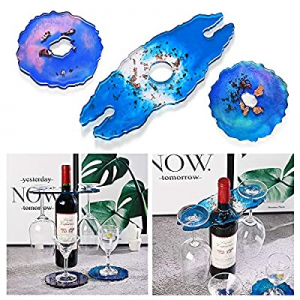 Resin Coaster Molds now 35.0% off , WEST BAY 3Pcs Wine Glass Holder Resin Silicone Molds w/ 12 Pac..