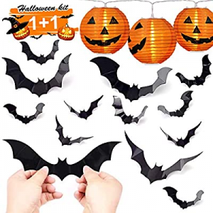One Day Only!HexyHair Halloween Decorations Indoor - Pumpkin String Lights and Bat Stickers Set fo..