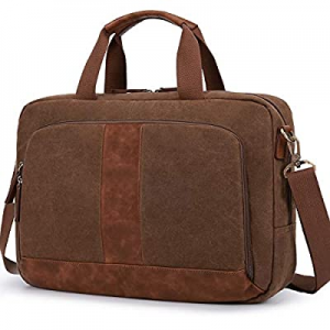 One Day Only!80.0% off Laptop Bag 17.3 Inches ECOSUSI Canvas Computer Messenger Bag Briefcases for..