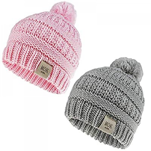 One Day Only!50.0% off Beanies Hats Baby Girls Boy with Pom Poms Warm Cable Knit Hat for Toddler K..