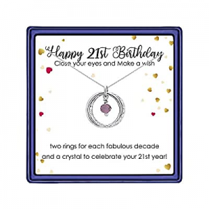 One Day Only!70.0% off IEFLIFE 21st Birthday Gifts for Her - Sliver Plated Interlocking Circles Ne..