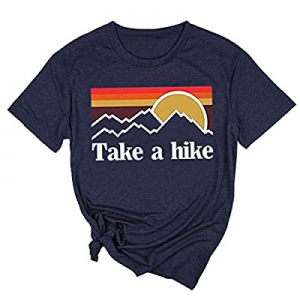 AEURPLT Womens Take A Hike T Shirt Summer Short Sleeve Casual Vacation Camping Graphic Tees Tops n..