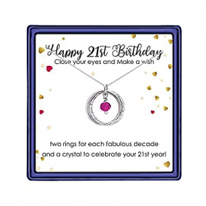 70.0% off IEFLIFE 21st Birthday Gifts for Her - Sliver Plated Interlocking Circles Necklace 21st B..