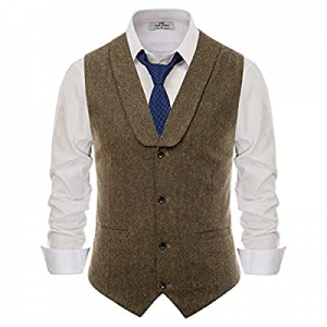 Paul Jones Mens Herringbone Tweed Waistcoat Tailored Collar Slim Fit Suit Vest now 60.0% off