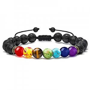 M MOOHAM Lava Rock Chakra Bracelet - 8mm Natural Stone Chakra Bead Volcanic Bracelet now 50.0% off..