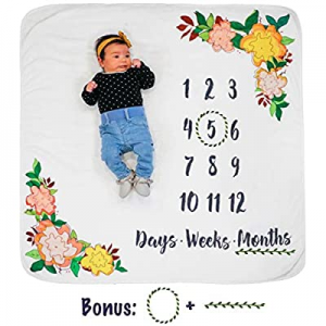 Growing Gifts Baby Milestone Blanket and Newborn Photo Prop (Large) Soft now 50.0% off , Warm Flee..