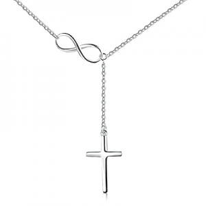 S925 Sterling Silver Infinity Cross Pendant Y Lariat Necklace for Women Birthday Gift now 30.0% of..