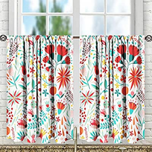 SSHELII Kitchen Tier Curtains Print Half Window Kitchen Cafe Bathroom Curtains Rod Pocket Small Sh..