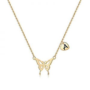 Iefil Initial Butterfly Necklace for Women now 50.0% off , 14k Gold Filled Letter Initial Butterfl..