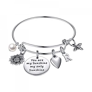 Sunflower Charm Bracelets for Women Girls now 50.0% off , Stainless Steel Expandable Bangle Bracel..