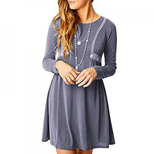 Chuanqi Womens Tunic Dresses Long Sleeve Casual Loose Round Neck Swing Plain T-Shirt Dress now 70...