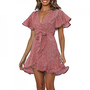 Chuanqi Womens Polka Dot Wrap V Neck Mini Dress Summer Beach Ruffles Hem Short Dresses with Belt n..