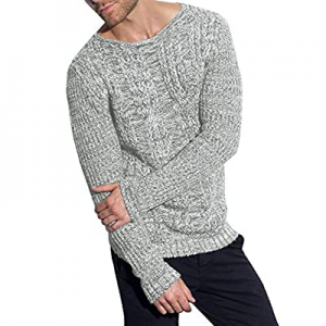 75.0% off PASLTER Mens Sweaters Crew Neck Long Sleeve Slim Fit Pullover Cable Knit Casual Fall Kni..