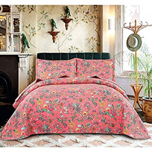 3 Piece Floral Summer Quilts Twin Size for Girls now 60.0% off ,Lightweight Bedspread Blossom Cove..