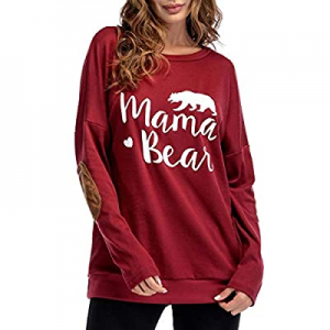 One Day Only!Sundray Women's Mama Bear t Shirt Round Neck Tops Letter Print Tunics Villus Patch Bl..