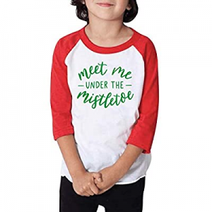 One Day Only!Bump and Beyond Designs Kids Christmas Shirt, Meet Me Under The Mistletoe Raglan now ..