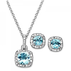 65.0% off Jane Stone 925 Sterling Silver Necklace Earrings Jewelry Set Cubic Zirconia Wedding Acce..