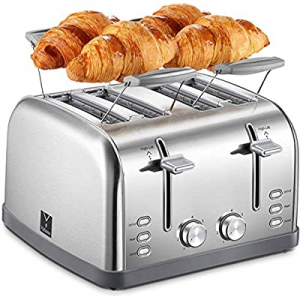 Yabano 4 Slice Toaster now 27.0% off , Retro Bagel Toaster with 7 Bread Shade Settings and Warming..