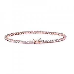 Jane Stone 18K Rose Gold Plated Cubic Zirconia Sterling Silver Tennis Bracelet for Women now 70.0%..