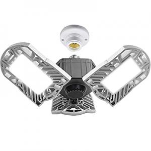 KJOY 60W Led Garage Lights now 50.0% off , 6500Lumens Deformable Trilights Garage Ceiling Light, C..