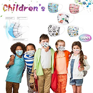 50 Qty Face Bandanas for Kids - 3Ply with Cute Print now 80.0% off , Comfy Dust-Proof, Ear Loop, F..