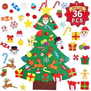 Max Fun 37 x 27 Inch Children's Felt Christmas Tree Set 3.2ft with 36PCS Ornaments DIY Home Decora..
