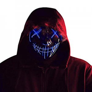 Halloween LED Purge Mask for Men Women Kids now 20.0% off , Scary Cosplay Light up Face Mask for F..