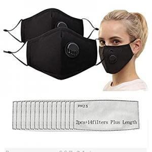 Upgrade Reusable Mouth Fabric Covers with Valve Adjustable Strap now 40.0% off ,Washable Cotton Wi..