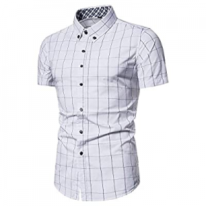 VANCOOG Men's Short Sleeve Casual Button Down Dress Shirts now 60.0% off